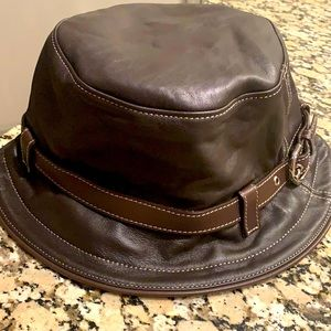 COACH Brown Leather Bucket Hat NWT